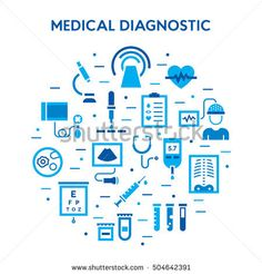 Medical diagnostic vector icon set. Medicine flat signs. Clinical laboratory research pictogram symbols: microbiology, medicine science, immune system analysis, xray, MRI, scan, blood glucose testing Microbiology, Pictogram, Advertising, Ads, Icon Set, Clinic, Medicine, Symbols, Science