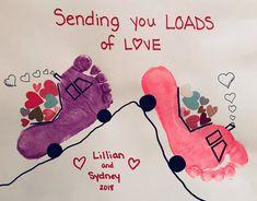 Handprint/footprint art - Sending you loads of love for Valentine's Day