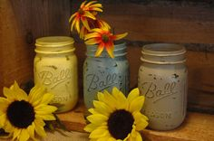 Wildflowers collection of painted mason by PineknobsAndCrickets, $18.00