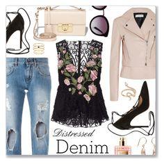 """Distressed Denim"" by dressedbyrose ❤ liked on Polyvore featuring Dolce&Gabbana, Salvatore Ferragamo, Marchesa, Balenciaga, Gianvito Rossi, Accessorize, Nigaam, Valentino, women's clothing and women"