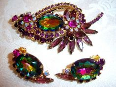 Vtg Juliana D Amp E Purple Lavender Watermelon Rhinestone Brooch Pin Earring Set | eBay