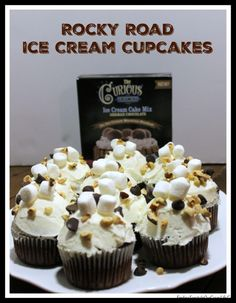 Make your next party a celebration with tasty Rocky Road Ice Cream Cupcakes featuring homemade no church ice cream from #CuriousCreamery #ad @curiouscreamery