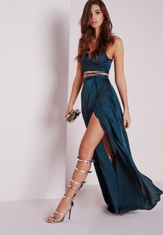 Satin Wrap Maxi Skirt Teal - Skirts - Co-Ords - Missguided Two pieces Dos piezas Verde y azul oscuro Abertura en la pierna Slit