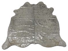 H-372 Silver Metallic on Off White Acid Washed Cowhide Rug 6.5' X 7'  Silver Devore cow skin