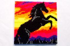 hama perler beads - Black horse by: Nina V. Kristensen