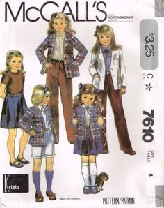 7610 Sewing Pattern McCall's Girls School Uniform Blazer Jacket Blouse Skirt 4