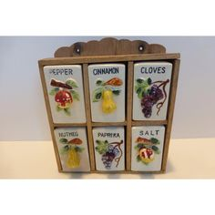 Vintage Spice Shaker Set in Wooden Rack w Painted Fruit