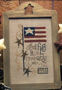Bent Creek, Flag 1998, Patriotic Cross Stitch Chart, American Flag Alphabet Sampler. $4.25, via Etsy.
