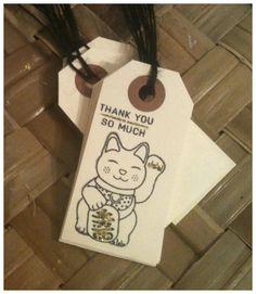 Handstamped Maneki Neko Manekineko Japanese by alohacookiegirl, $6.75