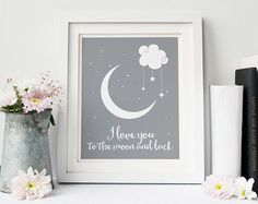 I Love You to the Moon & Back Nursery Decor by DaphneGraphics