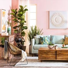 This Jungalow-Approved Furniture Collab Gives Us All the Vacay Vibes Decor, Room, Lifestyle Furniture, Light Blue Sofa, Home, Boho Living Room, Couch Decor, Living Room Designs, Diy Fireplace