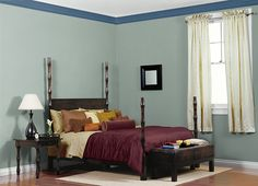 Possible bedroom. This is the project I created on Behr.com. I used these colors: EXPRESS BLUE(M500-6),MISTY MOSS(N420-3),MIRROR LAKE(M520-4),ICE DROP(M530-1),
