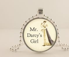 "Jane Austen, Pride and Prejudice, Mr. Darcy's girl. 1"" glass and metal Pendant necklace Jewelry."