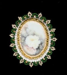 Beaded Brooch Pin-Necklace Ivory Flowers Green White by FoxyMomma