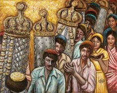 Simchat Torah by Geula Twersky - The Jewish Jerusalem Fine Art Store Arte Judaica, Simchat Torah, Artistic Visions, Jewish Art, Art Store, Impressionist, Giclee Print, Fine Art, Joy