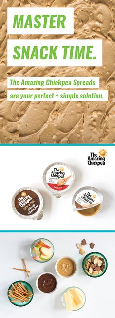 The Amazing Chickpea's three delicious spreads create unlimited options for dipping and spreading your way to the perfect snack. Nut Free, Spreads, Peanut Butter, Dips, Food Ideas, Snacks, Create, Breakfast, Amazing