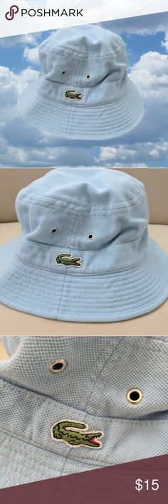 da7c0a8f3328 Lacoste Bucket Hat Vintage baby blue pique cotton bucket hat from Lacoste.  In great pre