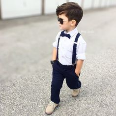 ️ Bowtie and suspenders from Bowie + Suspenders Toddler Boy Fashion, Little Boy Fashion, Toddler Boys, Kids Boys, Fashion Kids, Kids Dress For Boys, Kids Wear, Fashion Outfits, Little Boy Outfits