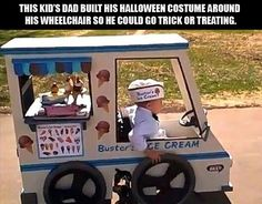 This kid's dad built his halloween costume around his wheelchair so he could go trick or treating.  Awesomwe!