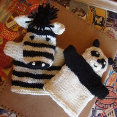 Free Knitting Pattern for Zebra and Panda Hand Puppets - These easy and quick puppets are knit back and forth on larger-size needles. 91⁄2 inches tall and 81⁄2 inches wide. Excerpted from Itty Bitty Toys by Susan B. Anderson.