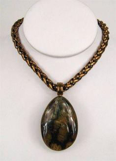 STEPHEN DWECK Jasper in Bronze on Bronze Woven Chain Necklace OAK #Pendant