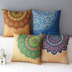 These Mandala pillow covers serve as a beautiful decorative addition for your house. Add a vibrant and colorful bohemian flair to your living room floor, study floor, or outdoor patio. The Mandala pattern and its vibrationally positive energies will brighten up your home with it's vibrant color and mesmerizing geometric design. With multiple designs to choose from, mix and match for your own unique style and taste! - A Linen/Cotton Weave keeps the pillow case material soft, comfortable to…