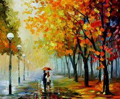 Fall Drizzle — PALETTE KNIFE Oil Painting On Canvas By Leonid Afremov #LeonidAfremov #AfremovArtStudio #pictures #talentedartist