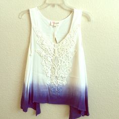 Blue ombré open back tank! Loose fitting blue ombré tank top with crochet design on front. Blush Tops Tank Tops