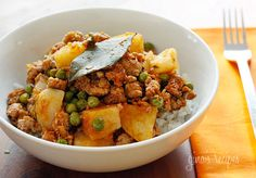 Ground Turkey with Potatoes and Spring Peas - We served this over rice and the portions were extremely generous.