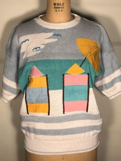 Vintage Valley Girl Design Zone Short Sleeve Beach Chair Ocean Seagulls Fun In The Sun Pullover Sweater Top Shirt Hipster Chic, Valley Girls, Russell Athletic, Blue Hoodie, Bathing Beauties, Beach Chairs, Women Swimsuits, Hippie Boho, Pullover Sweaters