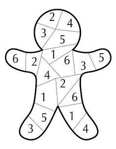 Dobbelspel. Getalbeelden t/m 6. De eerste die het popje heeft volgekleurd wint het spel.
