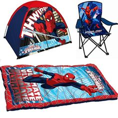 Marvel Spiderman Indoor / Outdoor Adventure Set - Tent Sleeping Bag and Folding Chair @ niftywarehouse.com