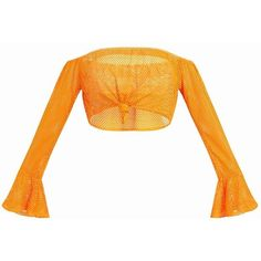 Orange Fishnet Knot Front Longsleeve Crop Top ($26) ❤ liked on Polyvore featuring tops, fishnet crop top, white crop tops, orange top, long sleeve tops and white fishnet top