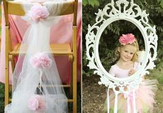love the birthday girl chair decoration.  also love the idea of taking all the little girls' photos through a frame as party favors or for a scrapbook.