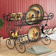 Dish Drainer, Rooster from Seventh Avenue ® ((wrought-iron-stuff)) Rooster Kitchen Decor, Rooster Decor, Home Decor Kitchen, Country Kitchen, New Kitchen, Rooster Plates, Kitchen Dishes, Chicken Kitchen, Dish Drainers