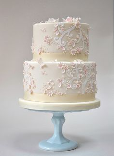 Best Cake Decorating Book Ever! http://www.amazon.com/gp/product/143918352X/ref=as_li_tl?ie=UTF8&camp=211189&creative=373489&creativeASIN=143918352X&link_code=as3&tag=alejanguerre-20&linkId=XJTFX462YWMZO4ZB - Delicate white, ivory and pastel pink #WeddingCake