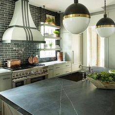 Pietra Gray Marble On Kitchen Island