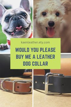 Your dog will love these full grain leather dog collars. Pet Costumes, Leather Sheets, Leather Dog Collars, Inevitable, Happy Dogs, Etsy Handmade, Leather Craft, Metal Ring, Things To Sell
