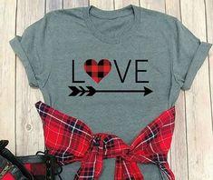 Holiday Shirts T-Shirts Love Shirt, Diy Shirt, Vinyl Designs, Shirt Designs, Buffalo Plaid Shirt, Vinyl Shirts, Cricut Creations, Cricut Vinyl, Shirts With Sayings