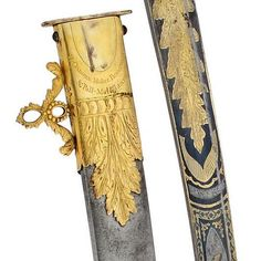 """art-of-swords: """" Georgian Officer's Sabre • Maker: Osborn Birmingham & Pall Mall London (blade) • Measurements: blade length 80.5cm Frost etched, blued and gilt to the tip with panels of scrolling..."""