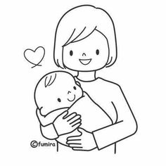 M is for Mommy Family Coloring Pages, Colouring Pages, Coloring Sheets, Mom And Baby, Baby Love, Micro Creche, Mother's Day Background, Christmas Drawing, Mom Day