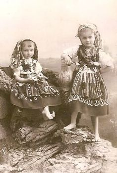 Portuguese Infantas Maria Benedita and Isabel Maria in traditional costumes