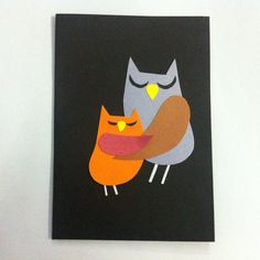 DIY Mother's Day Card - Cute Owl Mother and Child Hugging