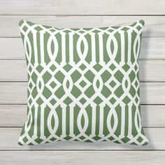 Shop Modern Green and White Imperial Trellis Outdoor Pillow created by cardeddesigns. Diy Pillow Covers, Diy Pillows, Outdoor Throw Pillows, Decorative Pillows, Cushions, Green Pillows, White Trellis, Diy Projects Cans, Trellis Pattern