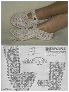 Discover thousands of images about Esquemas ganchillo variados y gratis ⋆ Crochet Patrones Crochet Sandals, Crochet Boots, Crochet Slippers, Crochet Clothes, Filet Crochet, Hand Crochet, Crochet Slipper Pattern, Diy Crafts Crochet, Shoe Pattern