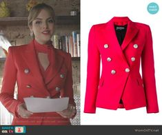 Fallon's red double breasted blazer on Dynasty. Outfit Details: https://wornontv.net/90443/ #Dynasty