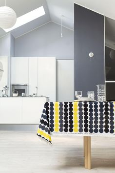 Gray walls with black, white and yellow. Kitchen Fabric, Black And White Interior, Restaurant, Marimekko, Scandinavian Style, Home Collections, House Colors, Beautiful Homes, Wall Decor