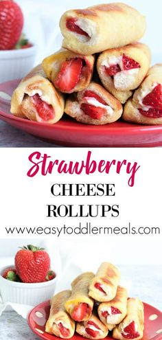 Strawberry Cheese Rollups That's breakfast sorted! Pair these delicious strawberry cheese rollups with an applesauce dip and let your kids go to town! They're easy finger food, quick to make and only include 4 ingredients – just perfect for the weekend Healthy Bedtime Snacks, Healthy Snacks For Kids, Snacks For Children, Finger Foods For Toddlers, Healthy Kids Breakfast, Easy Finger Food, Breakfast Finger Foods, Healthy Finger Foods, Breakfast Food Recipes