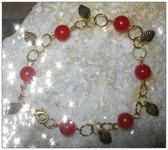 Handmade Gold Bracelet with Red Jade & Leaves by IreneDesign2011 in my Etsy Shop at https://www.etsy.com/listing/173411674
