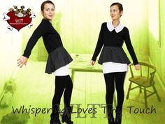 *Herbst/Winter 2012/2013 Kollektion ~~PELLE DELUXE~~*        Süßes Langarm-Shirt aus Baumwolle mit tollem separatem gepunktetem wendbarem Bubikrage...